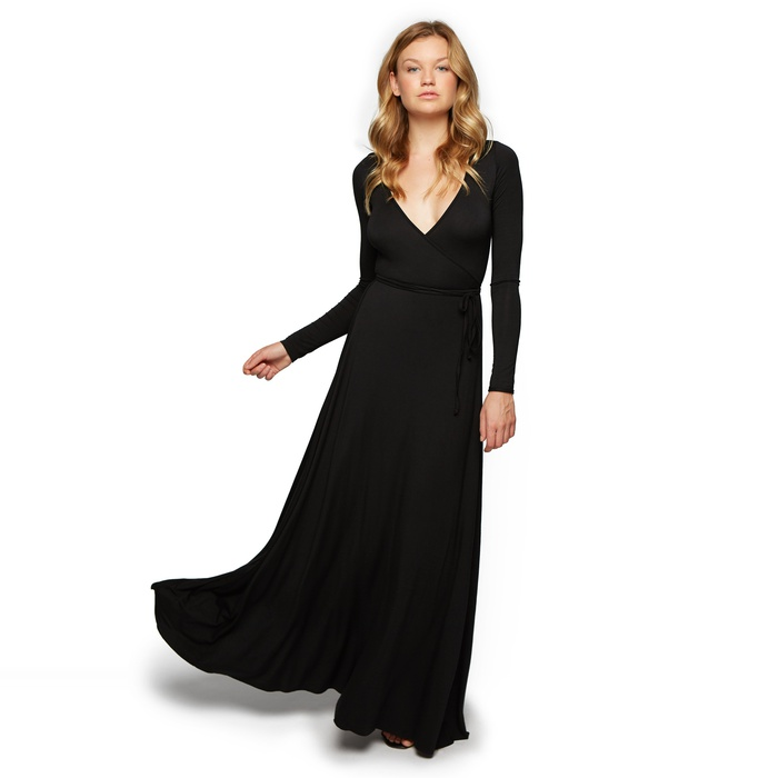 Designer and Founder of Rachel Pally Inc. - RP Long Wrap dress in Black