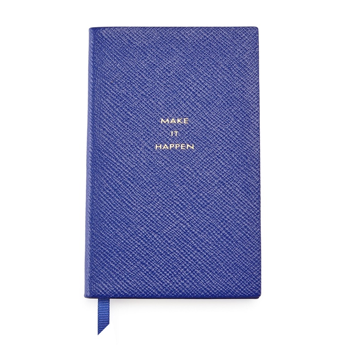 "Founder, Nicely Noted - Smythson ""Make it Happen"" Panama Notebook in Cobalt"