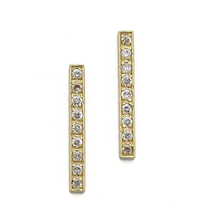 Author, Luckiest Girl Alive - Jennifer Meyer Gold Bar Diamond Stud Earrings