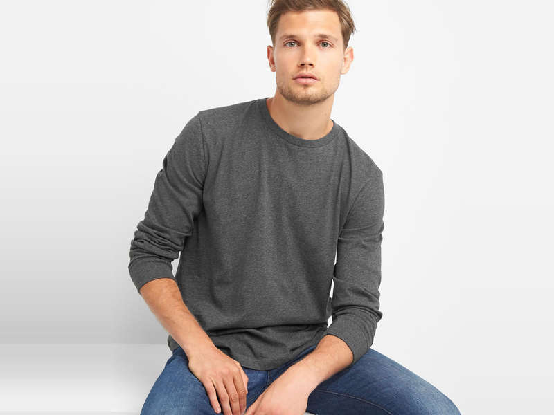 Rank & Style - Best Men's Long Sleeve Crew Neck T-Shirts
