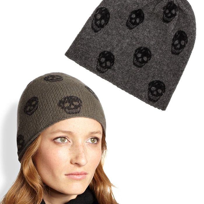 Best Hats & Gloves - 360 Sweater Luther Cashmere Skull-Print Beanie