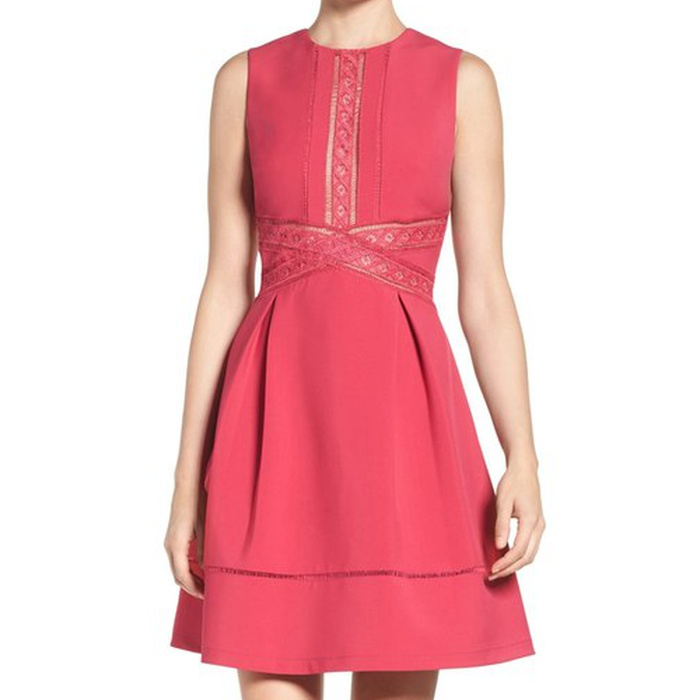 Best Spring Wedding Guest Dresses - Adelyn Rae Lace Trim Fit & Flare Dress