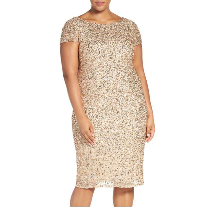 Best Plus Size Party Dresses - Adrianna Papell Beaded Cap Sleeve Sheath Dress