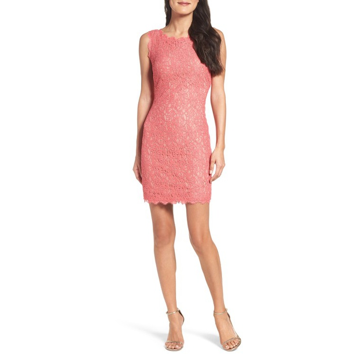 Best Summer Wedding Guest Dresses Under $150 - Adrianna Papell Boatneck Lace Sheath Dress