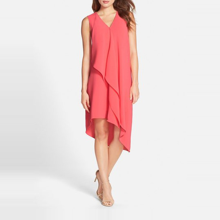 Best Spring Wedding Guest Dresses - Adrianna Papell Ruffle Front Crepe High/Low Dress