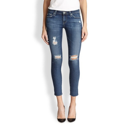 AG Adriano Goldschmied Distressed Cropped Skinny Jeans | Rank & Style