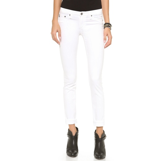 Best White Skinny Jeans - AG Adriano Goldschmied The Stilt Cigarette Jeans in White