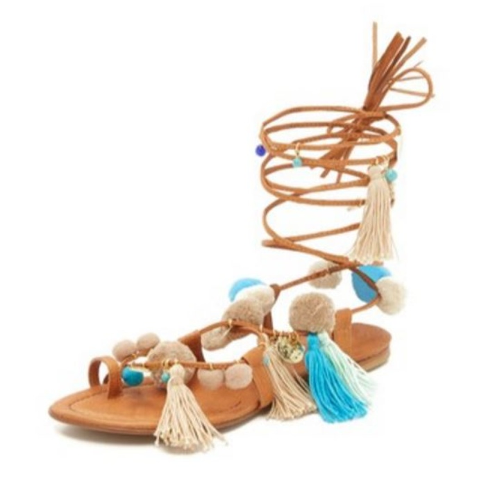 Best Pom pom Sandals - Alameda Turquesa Santorini Pom Pom Lace Up Sandals