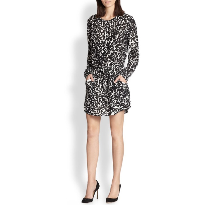 Best Animal Print Dresses - A.L.C. Simona Silk Leopard-Print Shirtdress
