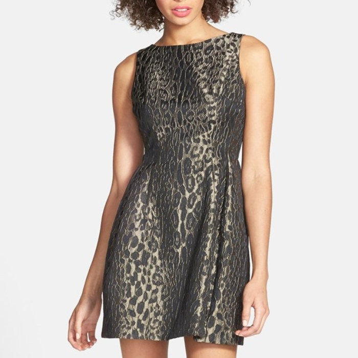 Best Animal Print Dresses - Alexia Admor Sleeveless Jacquard Fit & Flare Dress