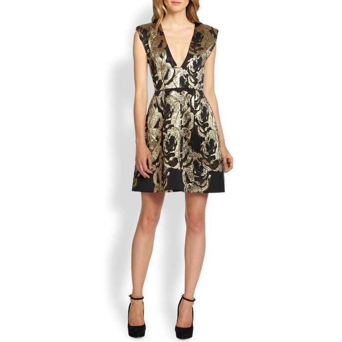 Best Black Cocktail Dresses for Fall - Alice + Olivia Pacey Metallic Jacquard Dress