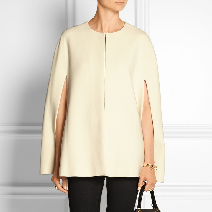 Best Cape Coats and Blazers - Alice + Olivia Trisha Leather-Trimmed Crepe Cape