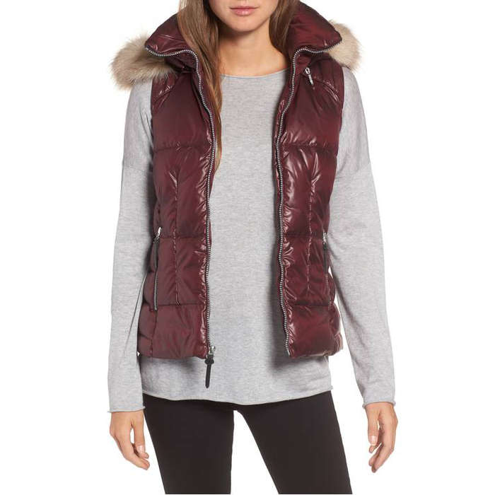 Best Apres Ski Essentials - Andrew Marc Lanie Puffer Vest with Faux Fur