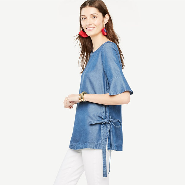 Best Summer Tops With Sleeves - Ann Taylor Chambray Side Tie Top