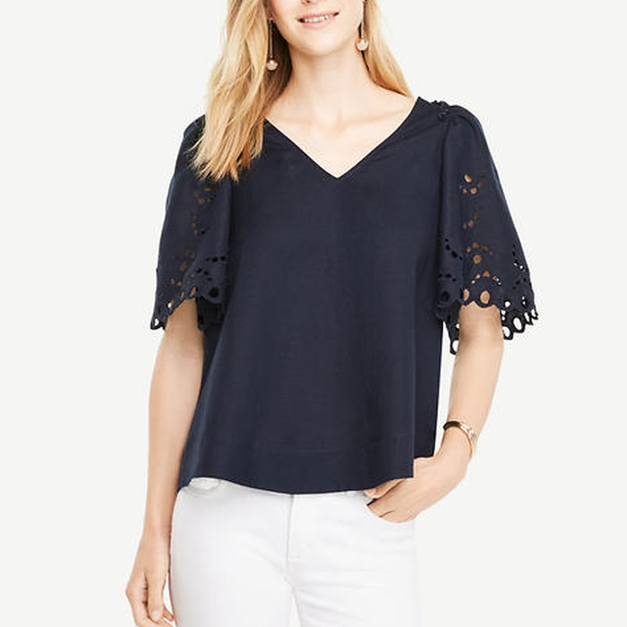 Best Must-Haves for a Timeless Wardrobe - Ann Taylor Embroidered Sleeve Top