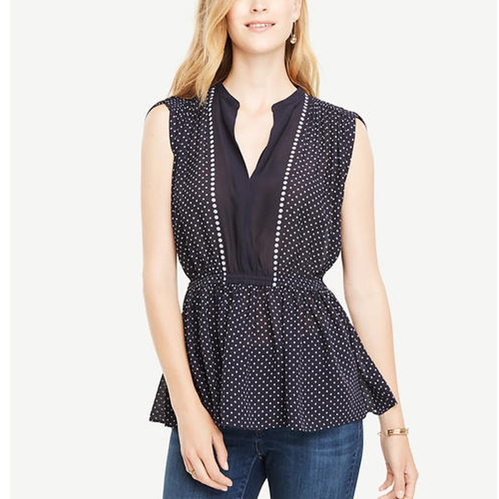 Best Must-Haves for a Timeless Wardrobe - Ann Taylor Shirred Waist Dotted Top
