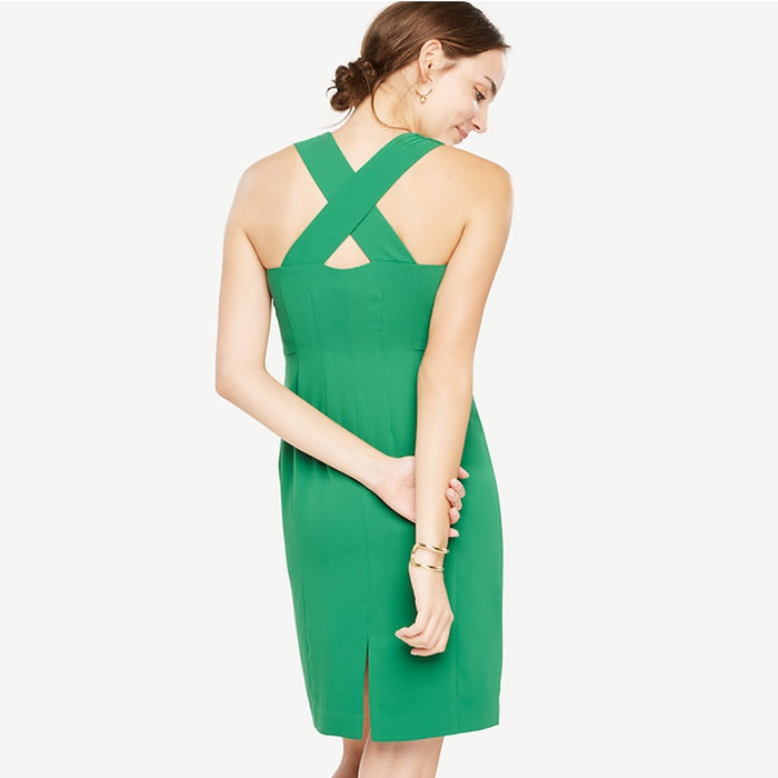 Best Summer Wedding Guest Dresses Under $150 - Ann Taylor Sleeveless Cross Back Sheath Dress