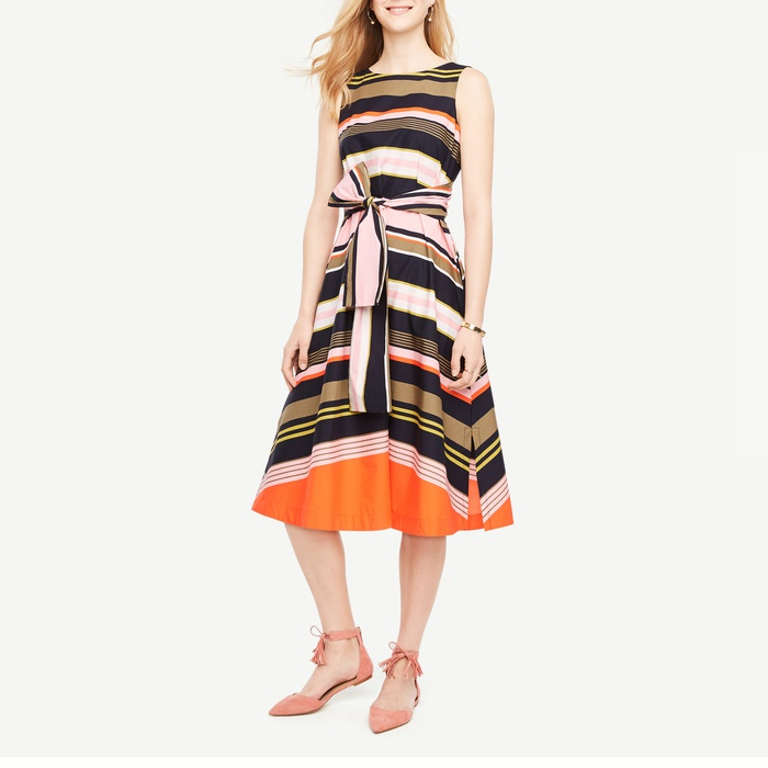 Best Spring Wear to Work Dresses - Ann Taylor Striped Sleeveless Belted Dress