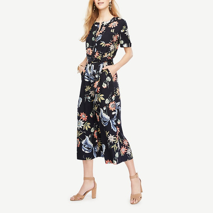 Best Jumpsuits - Ann Tayor Wild Flower Culotte Jumpsuit