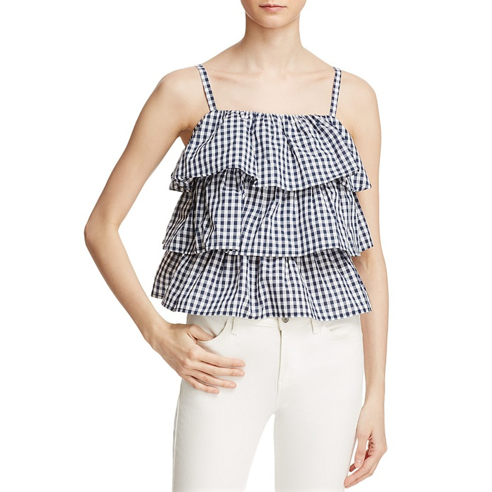 Best Gingham Tops - Aqua Gingham Tiered Ruffle Top