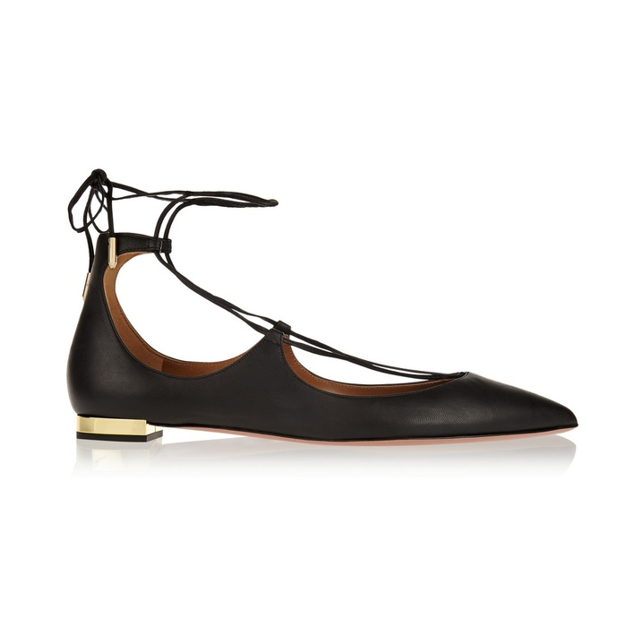 Best The Best Lace Up Flats, Heels and Boots - Aquazzura Christy Leather Point-Toe Flats