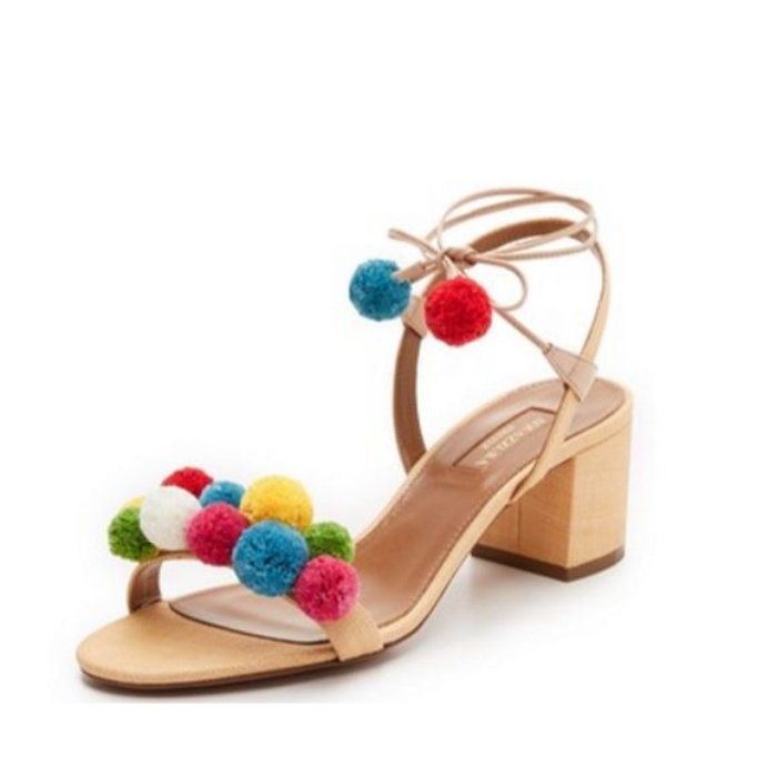 Best Pom pom Sandals - Aquazzura Pom Pom City Sandals