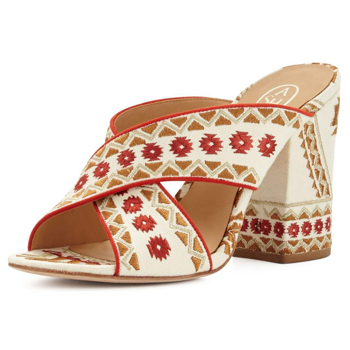 Best Embroidered Shoes - Ash Adel Embroidered Crisscross Mule Sandal