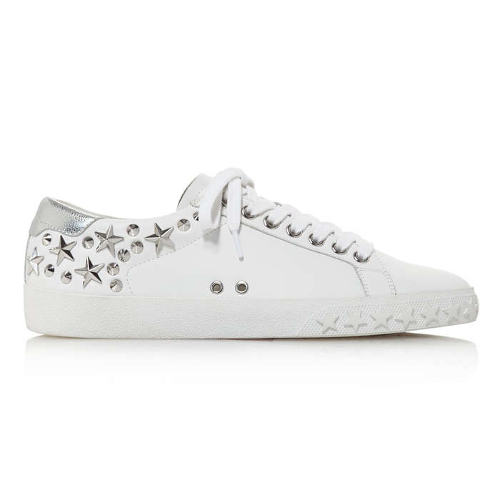 Best Fashion Sneakers - Ash Dazed Star Studded Leather Lace Up Sneakers