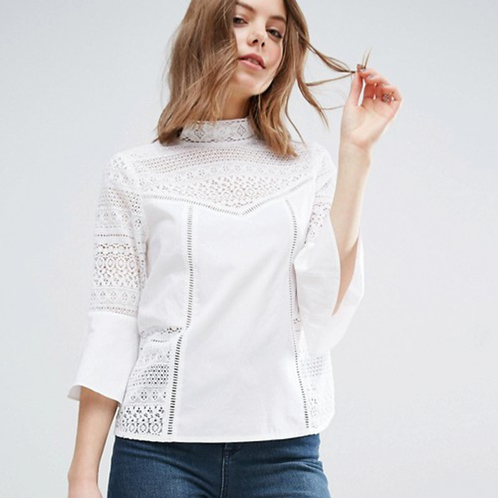 Best Statement Sleeve Tops - ASOS Cotton Victoriana Blouse with Lace Inserts