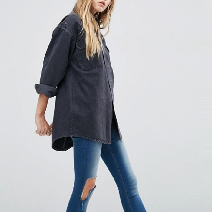 Best Boyfriend Button-Down Shirts - ASOS Denim Boyfriend Shirt in Wanda Washed Black