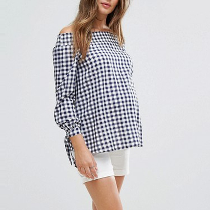 Best Maternity Summer Blouses - ASOS Maternity New Look Maternity Gingham Bardot Top