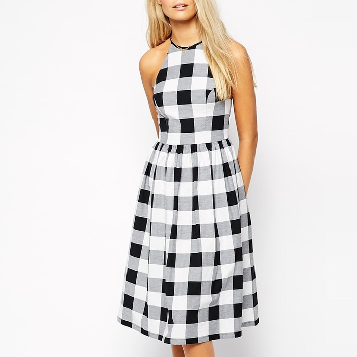 Best Printed Dresses Under $100 - ASOS Midi Skater Dress in Gingham
