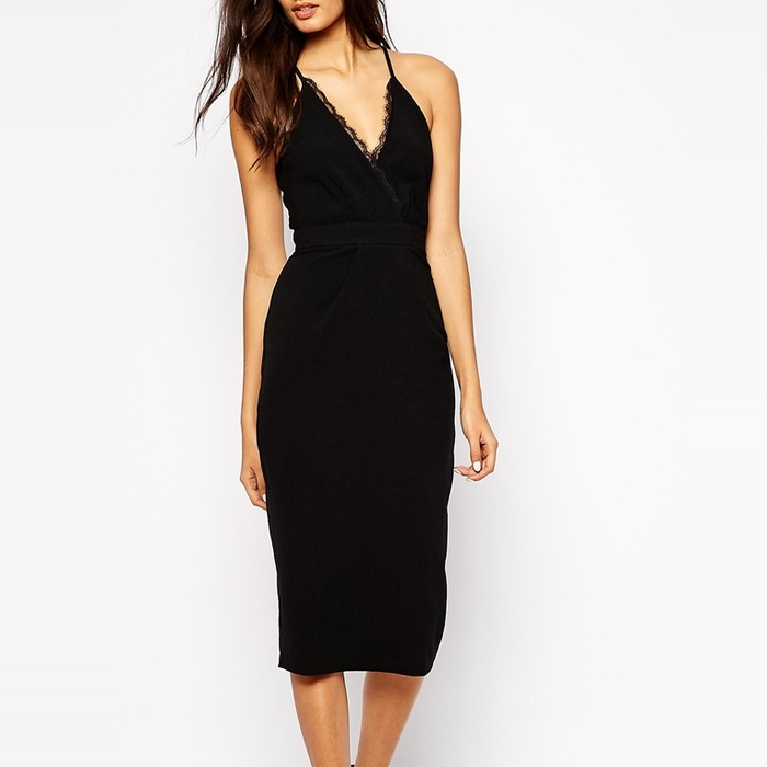 Best Spring LBDs Under $200 - ASOS Oh My Love Midi Body-Conscious Dress with Lace Plunge Neck and Open Lace Back