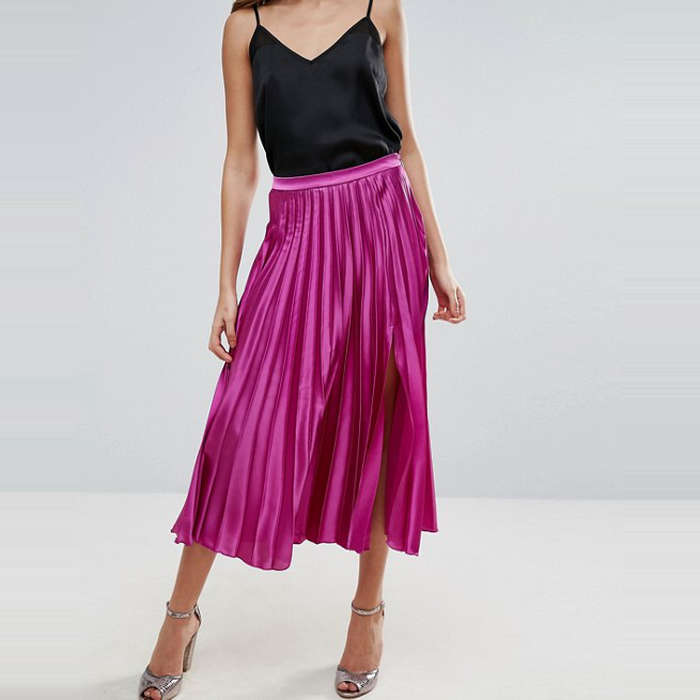 Best Pleated Skirts - ASOS Satin Pleated Midi Skirt with Thigh Split