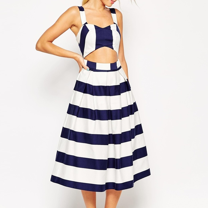 Best Cut Out Dresses Under $300 - ASOS Stripe Cut Out Midi Prom Dress