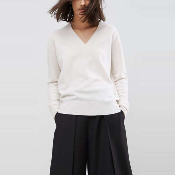 Best Cashmere Sweaters - ASOS White 100% Cashmere V-Neck Sweater