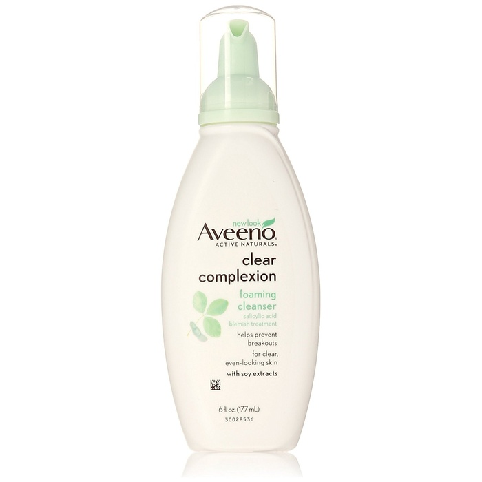 Best Face Cleansers for Sensitive Skin - Aveeno Clear Complexion Foaming Cleanser