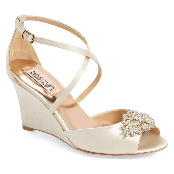 Best Bridal Wedges - Badgley Mischka Abigail Crisscross Wedge Sandals