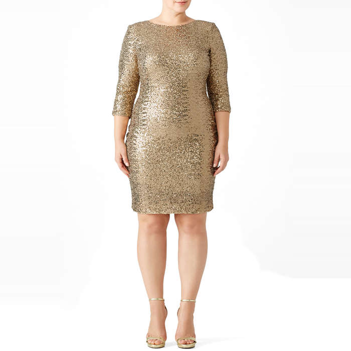 Best Plus Size Party Dresses - Badgley Mischka Gold Sequin Sheath