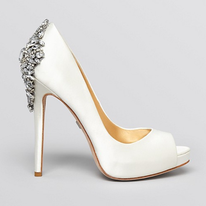 Best Wedding Heels - Badgley Mischka Peep Toe Platform Evening Pumps - Kiara High Heel