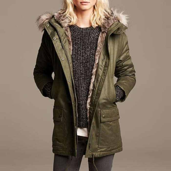 Best Parkas Under $500 - Banana Republic Faux-Fur Trim Parka