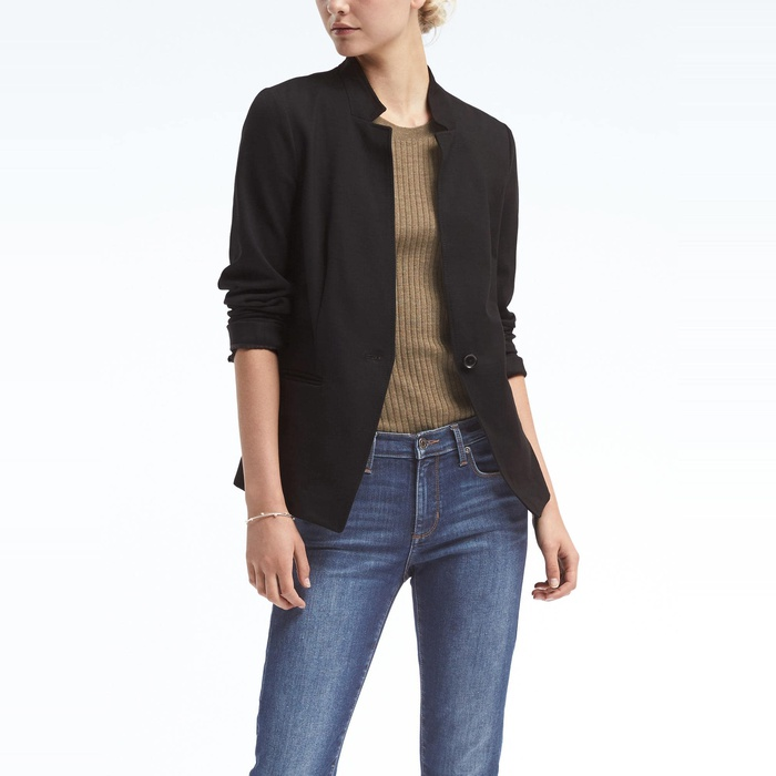 Best Women's Fashion Blazers - Banana Republic Long and Lean-Fit Inverted Collar Ponte Blazer