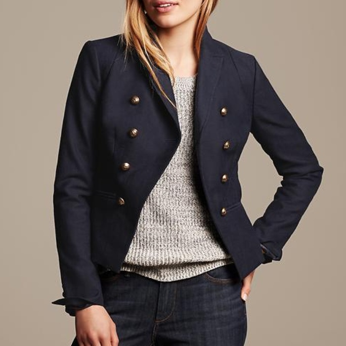 Best Military Style Coats - Banana Republic Navy Cutaway Blazer