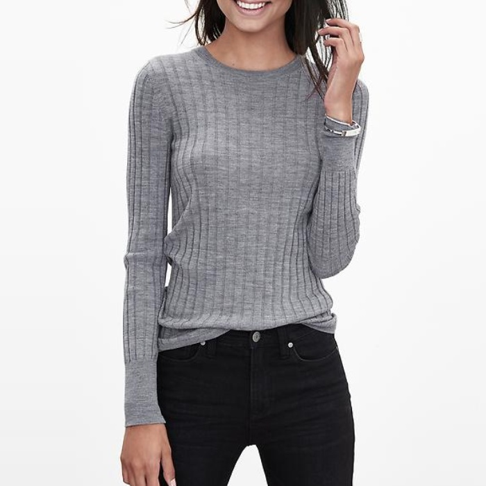 Best Crewneck Sweaters Under $100 - Banana Republic Ribbed Extra Fine Merino Wool Pullover