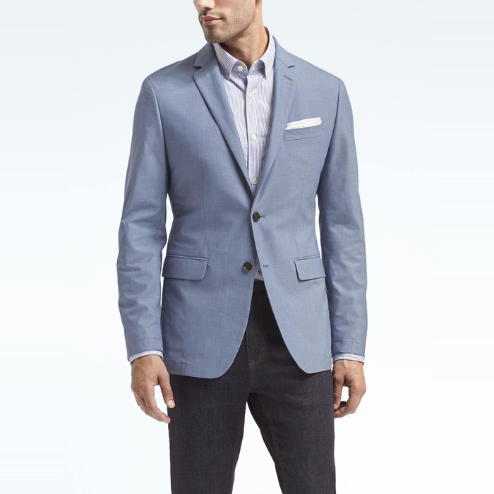 Best Men's Casual Blazers and Sports Coats - Banana Republic Slim Lightweight Blue Blazer