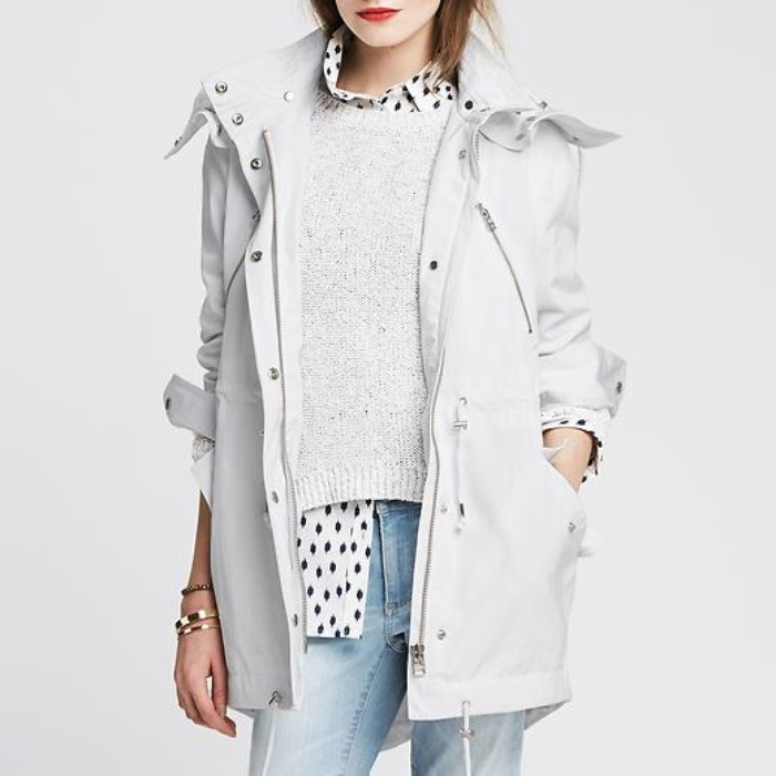 Best Spring Anoraks - Banana Republic White Anorak