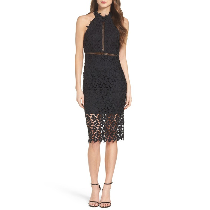 Best Summer Wedding Guest Dresses Under $150 - Bardot Gemma Halter Lace Sheath Dress