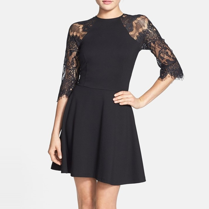 Best Lace Dresses - BB Dakota Yale Lace Panel Fit & Flare Dress
