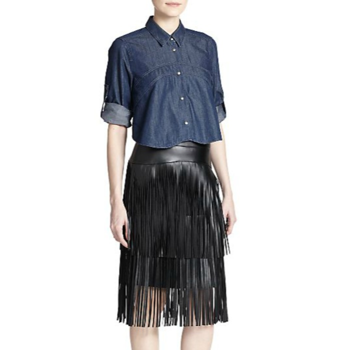 Best The Ten Best In Fringe Fashion - BCBGMAXAZRIA Rashell Faux-Leather Fringe Pencil Skirt
