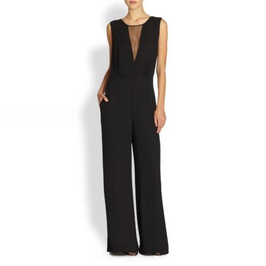 Best Black Sleeveless Jumpsuits - BCBGMAXAZRIA Sheer-Paneled Wide-Leg Jumpsuit